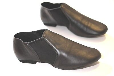 Jazz Dance Shoes Black Very Good Leather Slip On Split Sole child to adult size