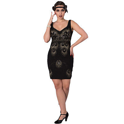 Dancing Days Black Peacock 1920s Great Gatsby Vintage Flapper Party Dress