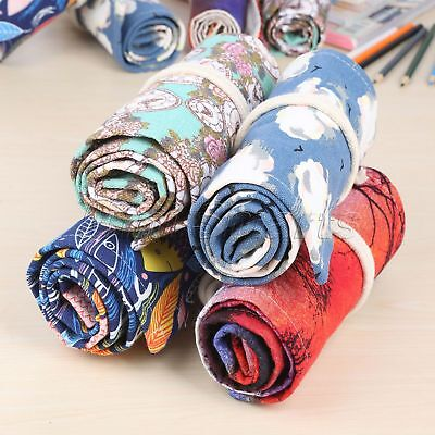 Large Canvas Pencil Case 36/48/72 Holes Roll Up Stationery Supplies 4 Pattern