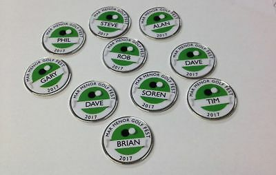 8 x Personalised metal golf ball markers. Society Societies Stag.