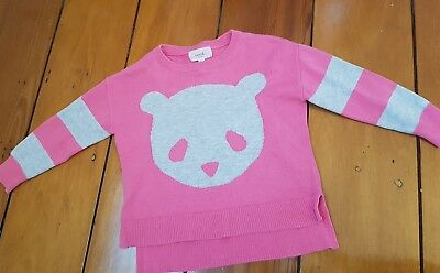 Baby girls Seed knit bear jumper top size 1-2 pink