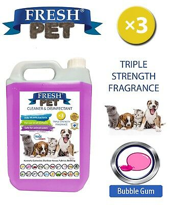 Fresh Pet Kennel Dog Disinfectant Triple Strength Fragrance - 5L Bubblegum