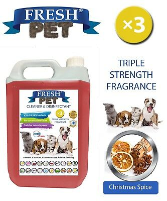 Fresh Pet Kennel Dog Disinfectant Triple Strength Fragrance - 5L Christmas Spice
