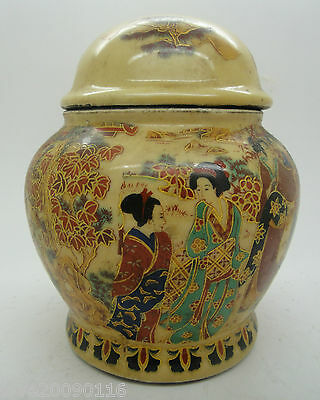 Collectible Old Handwork Jingdezhen Porcelain Painting Dowager Storage Pot / Jar