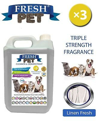 Fresh Pet Kennel Dog Disinfectant Triple Strength Fragrance - 5L Linen Fresh