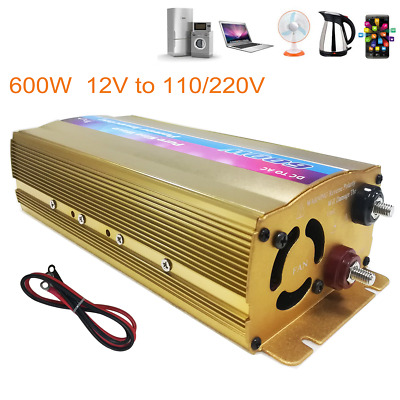 600w Power Inverter 12V DC to AC 110/120V 60Hz Car&Solar Converter USB Charger