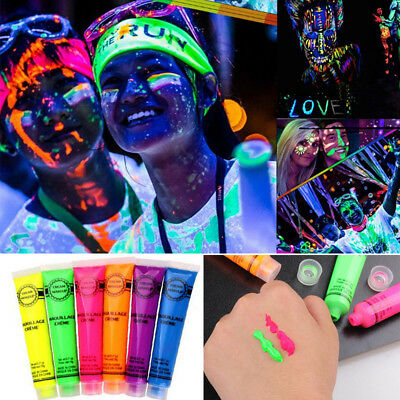 In The Dark Neon Rave Clubbing Festival Paint Glow Face Body Make Up Party #WS