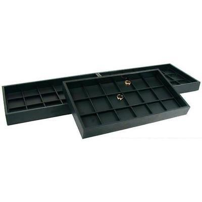 54 Slot Coin Display Black Faux Leather Travel Tray
