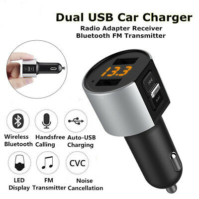 Bluetooth FM Transmitter MP3 Player Dual USB Stick Auto SD AUX Freisprechanlage