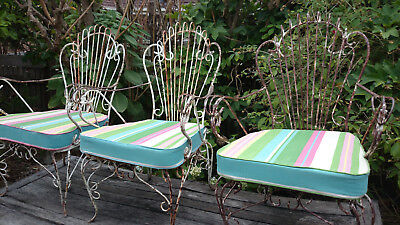 Wrought Iron Vintage Garden Chairs - set of 3