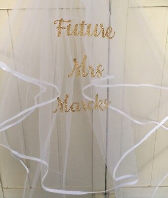 Personalised Wedding Hen Party white Veil  With Comb. Bride To Be,Gold / Silver