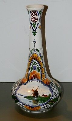 "Vtg Antique 1926 Gouda Zuid Holland Art Pottery Vase 12 "" Tall Well Marked Nice"