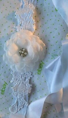 New Large Floral Lace Sash Belt Bridal Formal - White Lace Satin-  Pretty