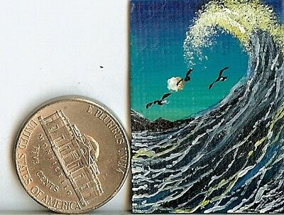 Original 1 x 1.5 Inch Birds Moon Seascape Waves Sea Spray Miniature Art HYMES