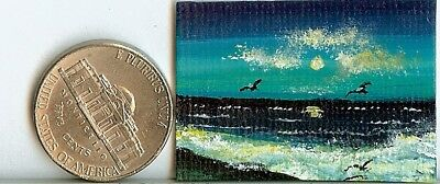 Original 1 x 1.5 Inch Beach Birds Seaside Collectible Art Picture HYMES