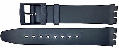 New 17mm (20mm) Resin Strap Compatible for Swatch® Watch - Black - RG12