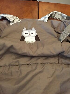 Eddie Bauer Infant Baby Shopping Cart High Chair Cover Taupe Cream Owl Woodland