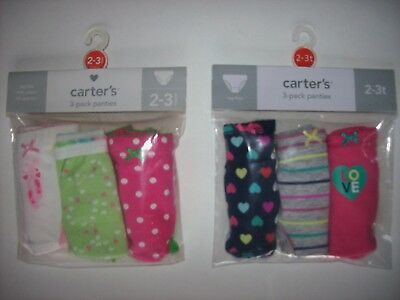 Carter's Underwear Underpants 3 Girls Panties 2-3Toddler Heart Ballet NIP