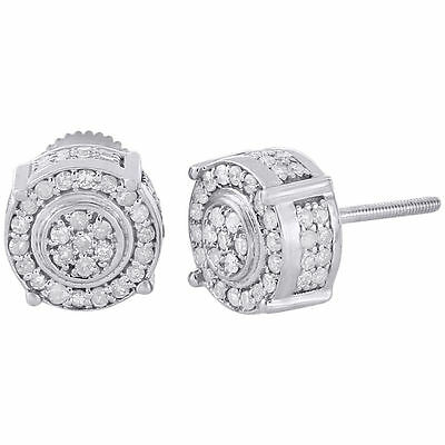 10K White Gold Round Cut Diamond 3D Circle 4 Prong Pave Studs Earrings 0.75 Ct.