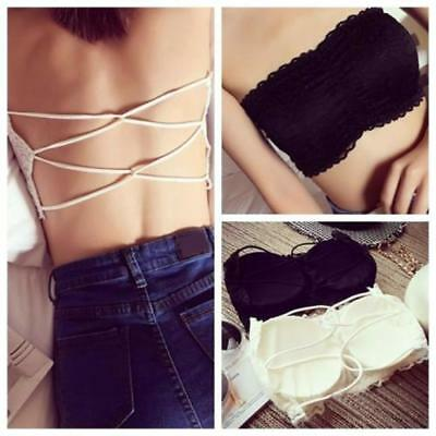 Female Tank Fashion Women Lace Spandex Padded Strapless Crop Top Solid Halter