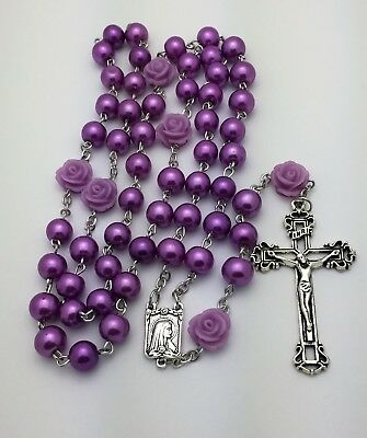 8 mm Purple Glass Pearl and Purple Rose Our Father Bead Catholic Rosary Beads