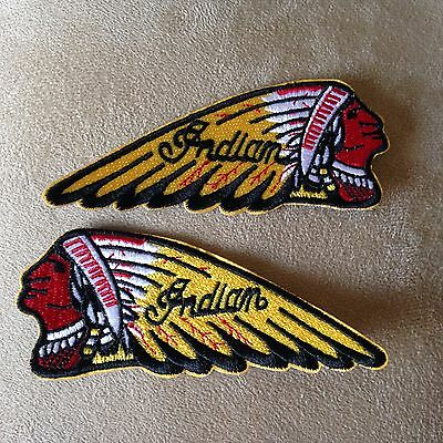 🏍️ INDIAN MOTORCYCLE Head Logo Iron-on PATCH SET For Leather/Vest/Sweater/Shirt