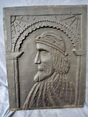 Rare 17Th Century   Carved  Head And Shoulders Of A Merchant Oak Panel