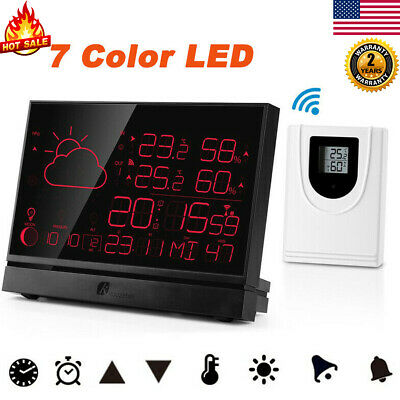 Wireless Digital LCD Color Weather Station Clock Calendar Humidity Thermometer