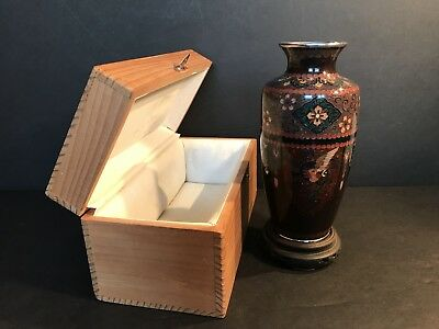 An Antique Chinese Cloisonne Vase In A Wooden Box
