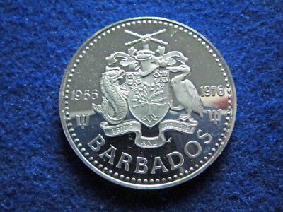 1976 Barbados Choice Silver Proof Five Dollars - Free U S Shipping