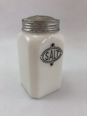 Vintage Custard Milk Glass Salt Shaker Aluminum Tops 4.5""