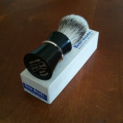 Vintage Ever-Ready Shaving Brush #500 PBT, Pure Badger Hair, Black/Gold