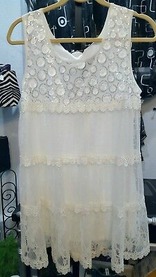 Nwt John Fashion White Tiered Tulle&Lace Baby Doll Tunic Top Embroidery Trim S M