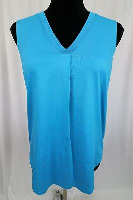 LX19 New Womens Lands End White V Neck Tunic Tank Top Size Large 14-16
