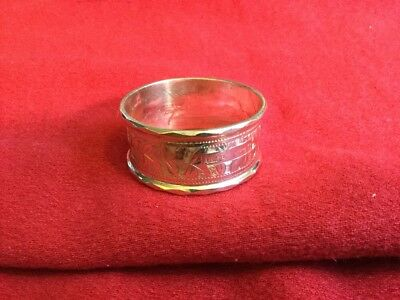 Outstanding ornate English sterling silver napkin ring engraved initials EMR