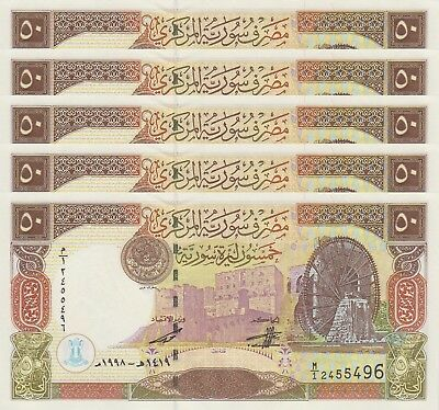 LOT, Syria 50 Pounds (1998) p107 x 5 PCS UNC