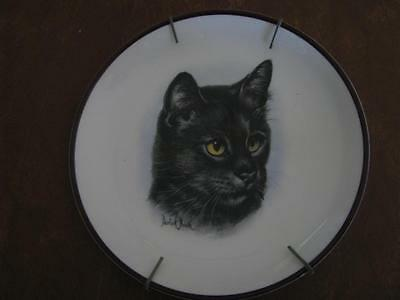 Coalport England Black Cat Plate By Derick  Bown  6 1/2""