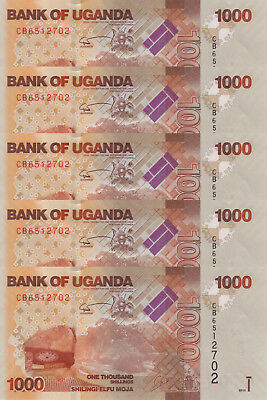 LOT, Uganda 1000 Shillings (2015) p49c x 5 PCS UNC