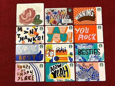 12 New Starbucks Gift Cards Lot Mothers Day 2018 Complete Recycled Paper Set
