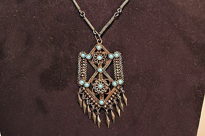 Vintage Beautiful Ladies Hand Made Silver Filigree Necklace+Pendant With Stones