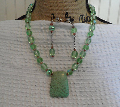 Green Turquoise Jewelry Set Chunky Pendant Necklace and Long Drop Earrings