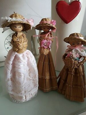 """Vintage/Old 3 Japanese Bamboo Doll Girls With Flower Baschet Figurine Approx 7"""""""