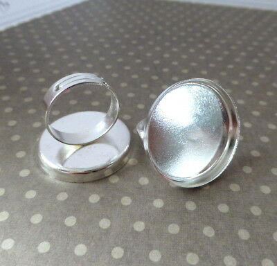 Pack of 10 Large 25 mm Base Brass Ring Setting Silver Colour Ring Components