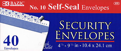 "Security Envelopes Peel & Self-Seal White Letter Mailing No.10  4-1/8"" x 9-1/2"""