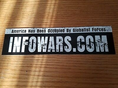 Infowars.com Bumper Sticker Alex Jones White on Black NEW