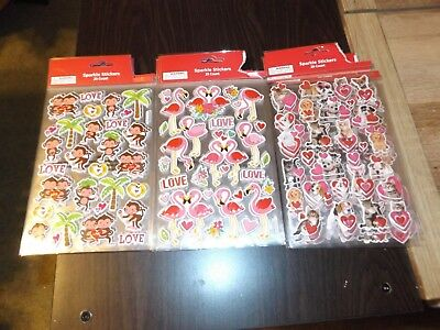 Lot of 16 Valentines Sparkle Stickers 29 stickers per packages