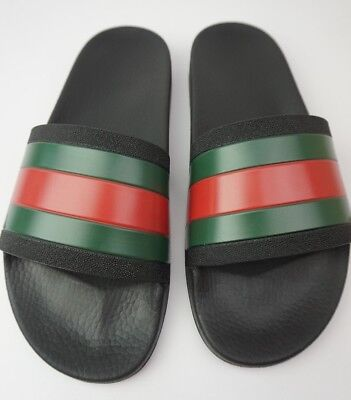 e7c4d1bbf8381 GUCCI PURSUIT 72 Slide Men s Black Spa Sandals Size 8 G   9 US ...