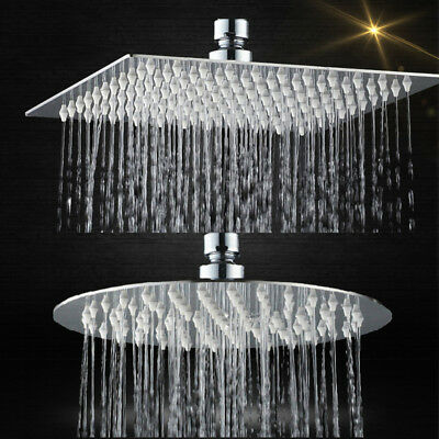 Square/Round 20cm Stainless Steel Ceiling Drench Shower Head Bathroom Overhead