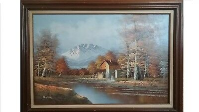 Large Fall landscape Oil painting canvas H. Wilson Old mill water wheel Vintage