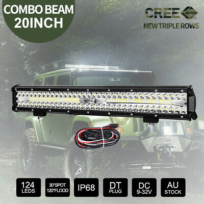 20 inch CREE LED Light Bar SPOT FLOOD 5D Lens Offroad 4x4 Work Driving Bars 12V